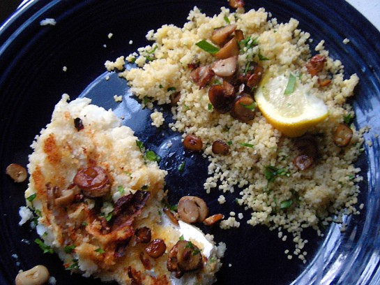 Panko-Crusted Cod with Mushroom, Garlic and Parsley Couscous