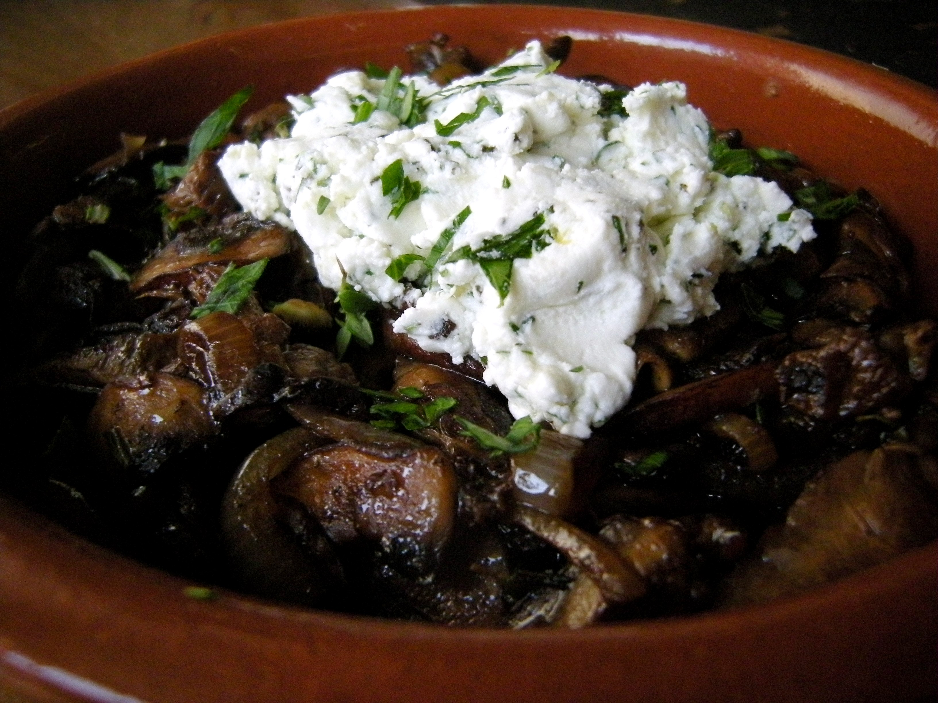 Wild Mushrooms with Herbed Goat Cheese