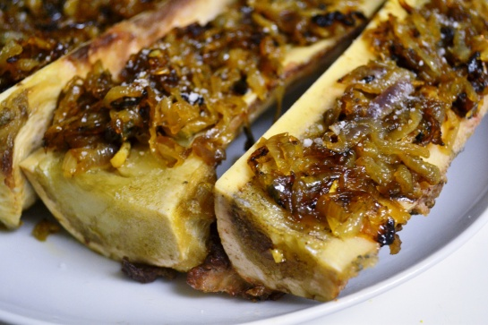 Roasted Bone Marrow with Caramelized Onions