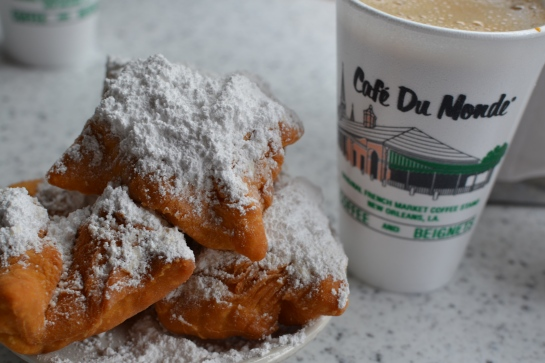 Beignets with a cafe au lait from the Cafe du Monde.
